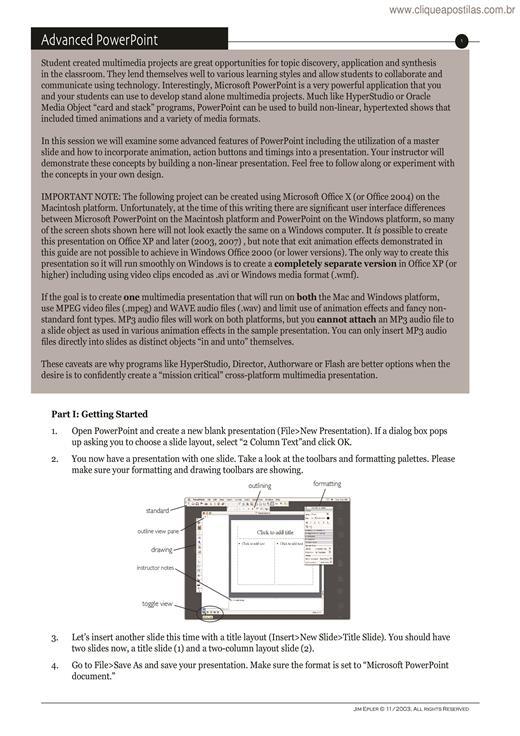 Clique Apostilas - PowerPoint Avançado II